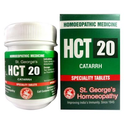 St George HCT 20 Homeopathic Tablets for Catarrh (Sinus, Congestion)