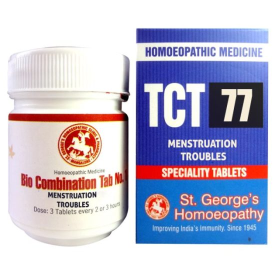 St George TCT 77 Homeopathic Tissue Complex Tablets for Menstruation Troubles