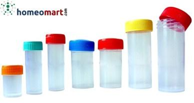 Plastic pills bottles semi transparent, homeopathy packaging materials