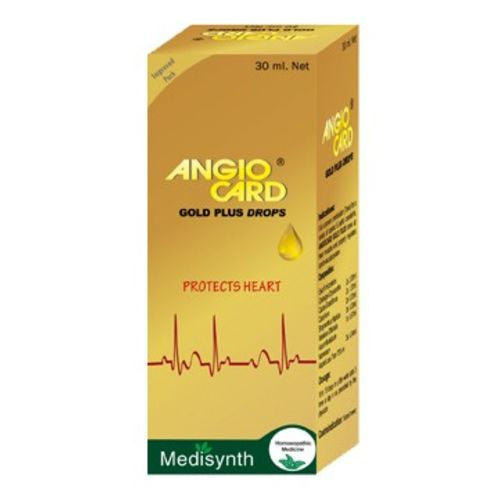 Homeopathy medicine Angio Card Gold Plus Drops, for cardiac (Heart) complaints, heart tonic from Medisynth