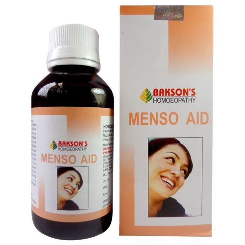 Bakson Menso Aid Syrup for complaints of menstrual cycles, bdominal cramps and backache, mild vaginal infection.