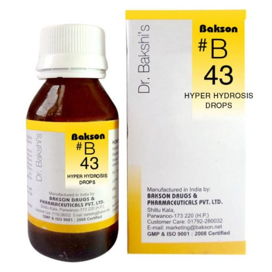 Buy Dr.Bakshi B43 Hyper Hydrosis Homeopathic drops for excess sweating