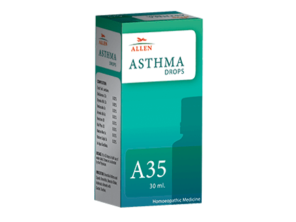 Allen A35 Homeopathy Drops for Asthma, Bronchial asthma, breathing difficulties