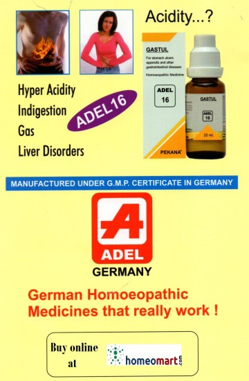 Adel 16 Gastul homeopathy drops for Acidity, Indigestion, Hyper acidity, Gas, Liver disorders