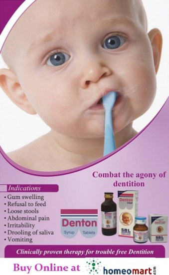 SBL Denton tablets for dentition problems in Infants & children. For Gum swelling, Loose stools, abdominal pain, Irritability, Drooling of saliva during teething