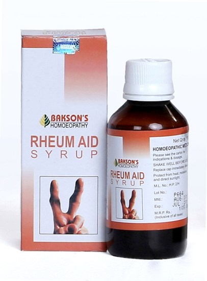 Baksons Rheum Aid Syrup for muscle and Joint pains, Stiffness and Swelling, homeopathy rheumatoid arthritis treatment