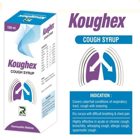Dr.Raj Koughex Syrup, Homeopathy Cough medicine with Ipecacuanha