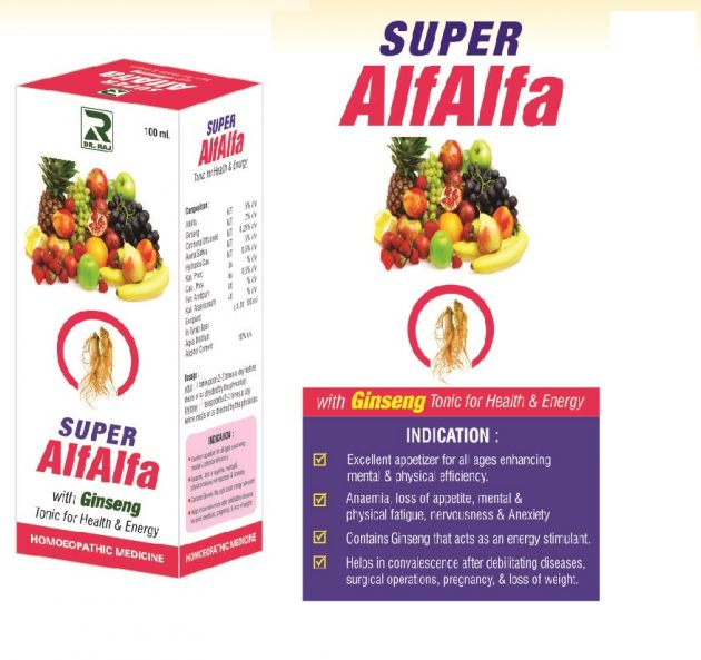 Dr Raj Super Alfalfa Tonic with Ginseng for Health and Energy