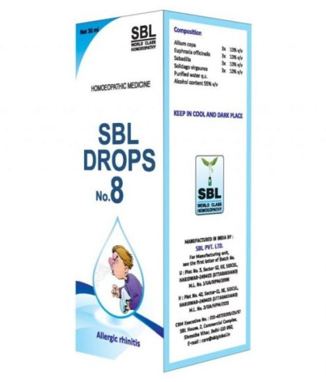 SBL Drops No 8, Homeopathy Medicine for Allergic Rhinitis, Nasal discharge, Excessive sneezing
