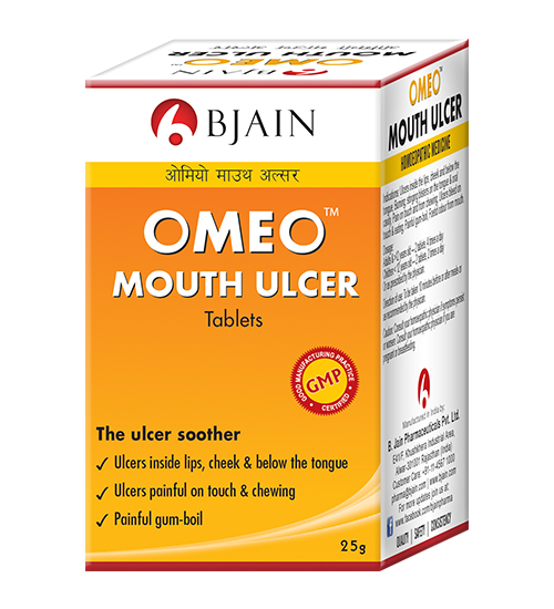 Omeo Mouth Ulcer Tablets. Gum Boils, Homeopathy Medicine with Borax, Merc Sol