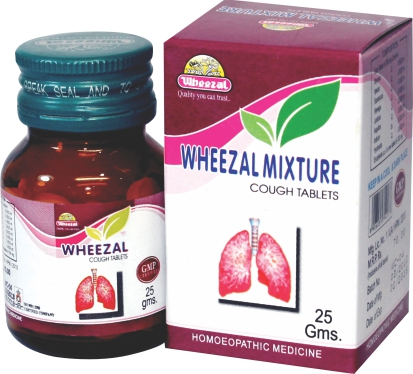 Wheezal Mixture Cough Tablets. Homeopathic medicine