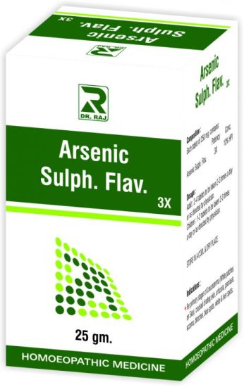 Dr Raj Arsenic Sulph Flav 3x Tablets for Leucoderma, Vitiligo, Skin ailments