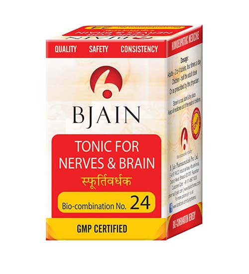 Bjain Biocombination No 24 Tablets - Tonic for Nerves and Brain, anemia, general debility and exhaustion with lack of vitality.