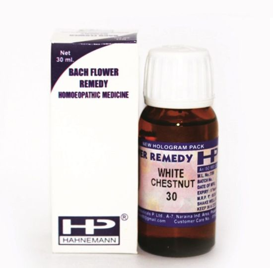 Bach Flower Remedy White Chestnut for Repeated unwanted thoughts, mental arguments, concentration, sleeplessness, insomnia.