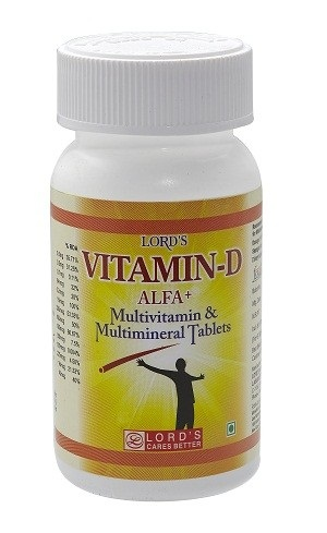 Lords Vitamin D Alfa + Multivitamin & Multimineral Tablets for rickets, weak bones (osteoporosis), bone pain (osteomalacia), and bone loss in people