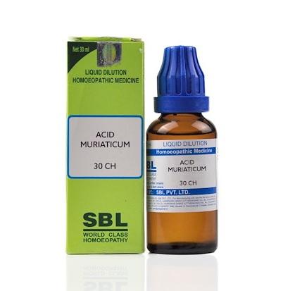 SBL Acidum Muriaticum Homeopathy Dilution 6C, 30C, 200C, 1M, 10M, CM