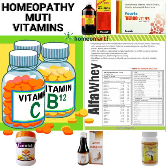 Multi vitamins in homeopathy, products with Vitamin C, Vitamin B12, Vitamin D