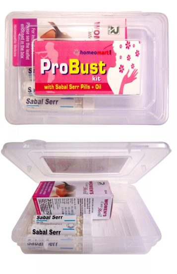 Probust Kit for breast size increase with Sabal Serrulata Pills and Oil, get fuller and firm breasts with homeopathy
