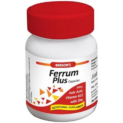 Bakson Ferrum plus capsules with iron, folic acid, vitamin B12, zinc