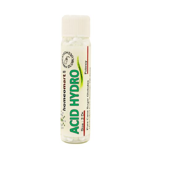 Acidum Hydro Homeopathy 2 Dram Pellets 6C, 30C, 200C, 1M, 10M