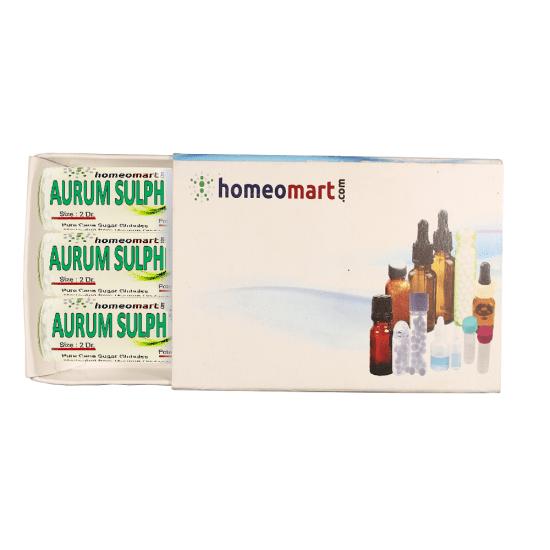 Aurum Sulphuratum Homeopathy 2 Dram Pellets 6C, 30C, 200C, 1M, 10M