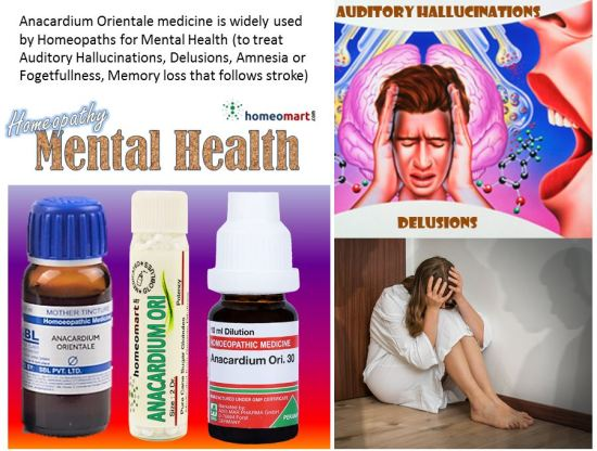 """Anacardium Orientale Homeopathic Medicine for auditory hallucinations, delusions, schizophrenia, weak memory"""