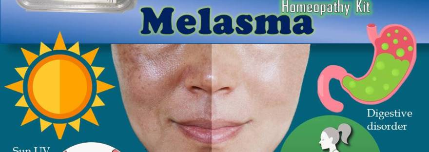Face showing normal and melasma affected skin with causes remedy