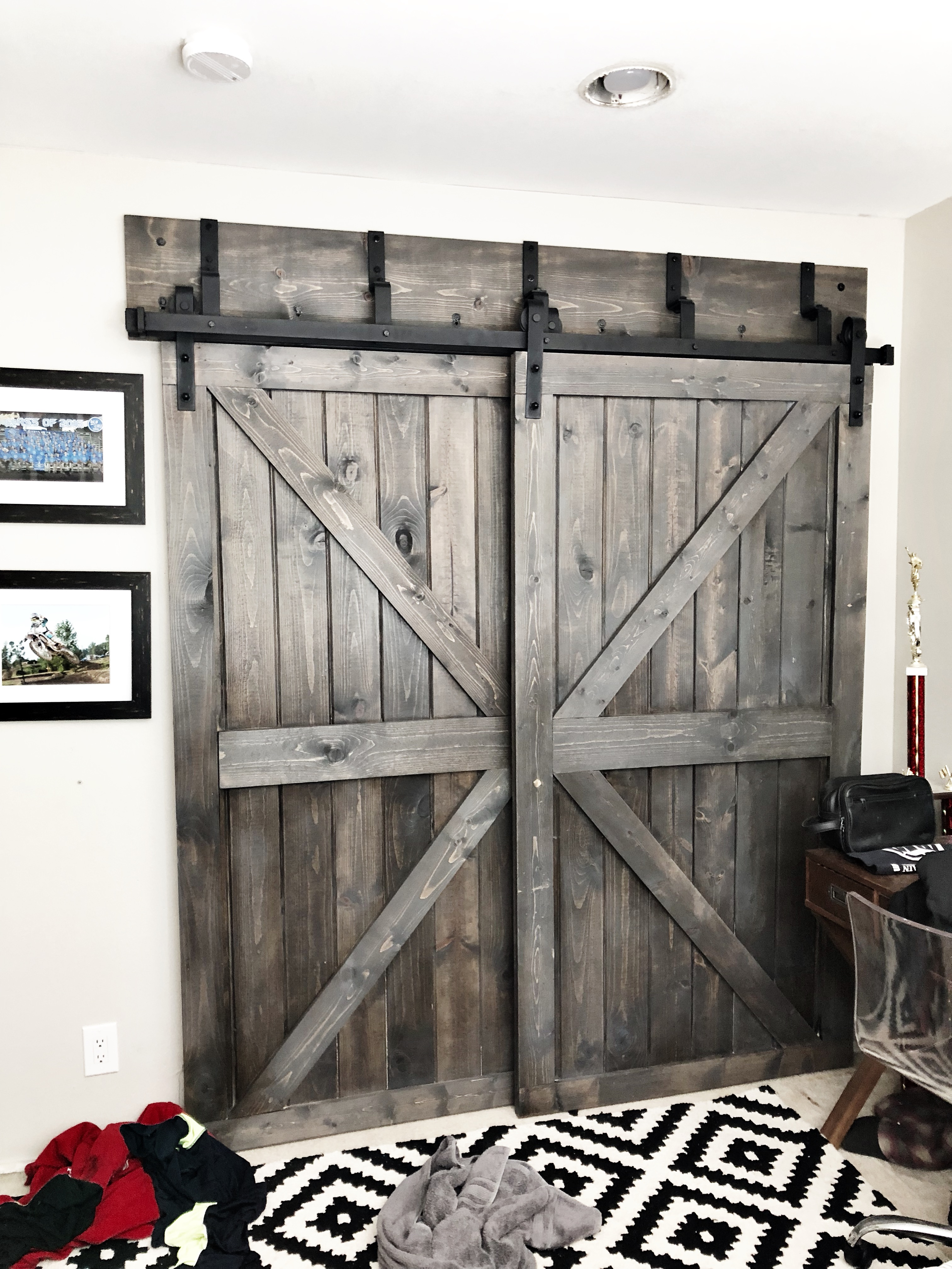 Diy Bypass Closet Barn Doors For 70 Each Using Tongue And Groove Home On Mount Forest