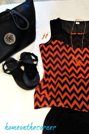 finds and fashions orange chevron top black skirt closeup