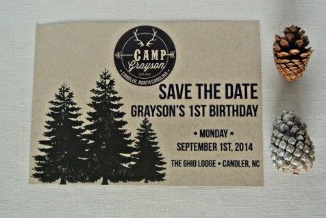 birthday camp invitation save the date trees logo