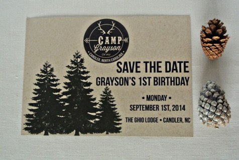 birthday camp invitation save the date trees logo