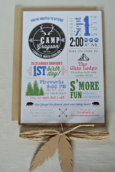 birthday camp invitation twine feathers