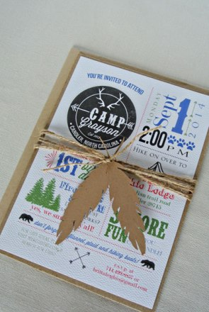 feather twine summer camp 1st birthday invitation