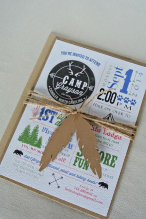 feather twine summer camp 1st birthday invitation