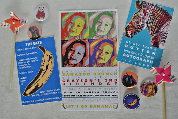 andy warhol invitation banana 2nd birthday