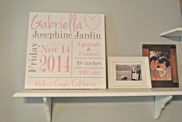 baby nursery birth stat canvas gallery pink gray girl