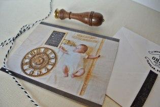 birth announcement chalk photo monogram wax stamp seal creative