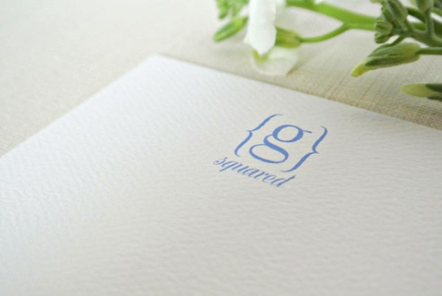 monogram bracket personalized stationery card blue