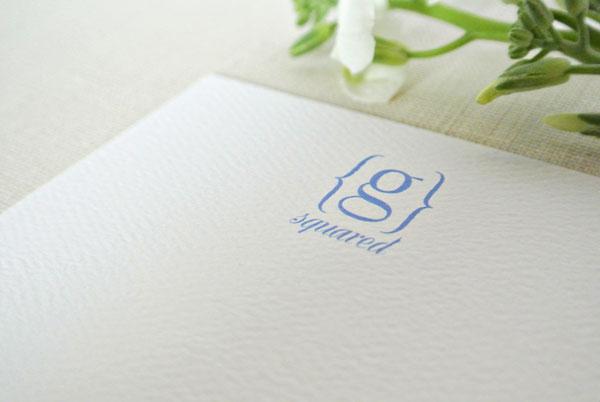 monogram bracket personalized stationery card blue