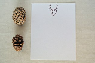 monogram antler brown personalized stationery card