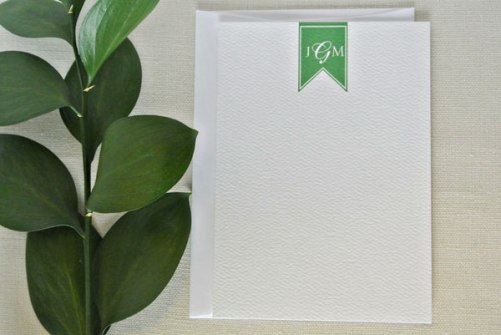 green flag personalized monogram stationery card