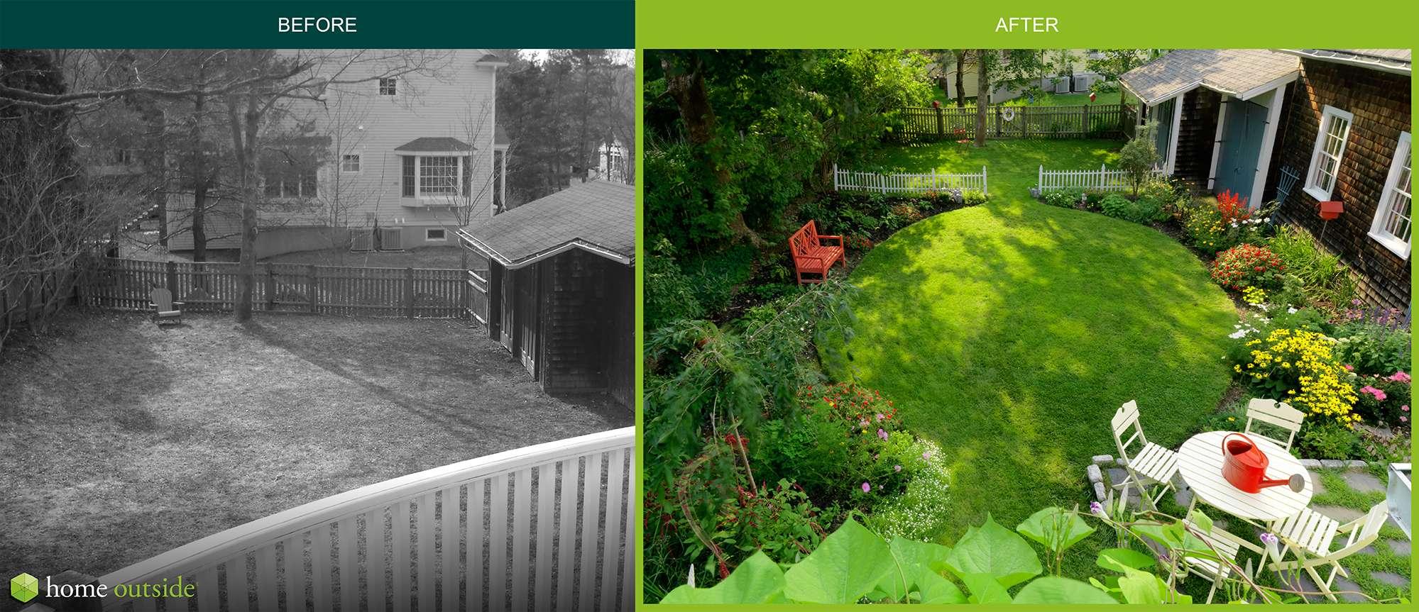 A Small Suburban Backyard Landscape Design Home Outside