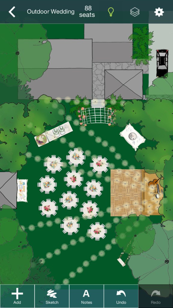 screen capture showing outdoor wedding layout