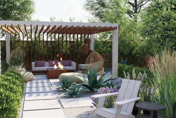 home-outside-landscape-design-Midland-TX-3d-view-pergola-fire-table-lounge-area