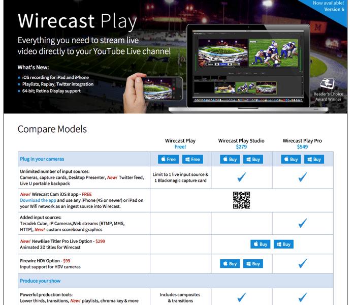 Wirecast Playの無料版