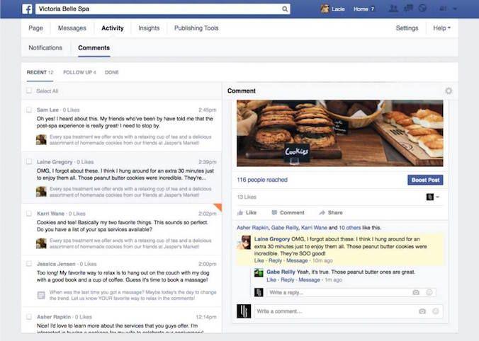 Facebookページのコメント管理