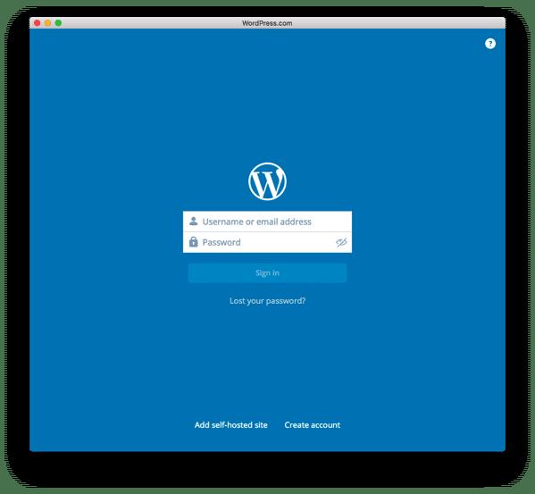 デスクトップ用のWordPressアプリにログイン