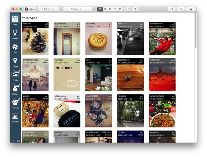 Photodeskでインスタグラムの投稿を並べて見る