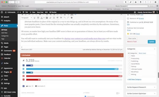 CoSchedule WordPressEditPost