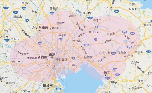 営業範囲について(東京・千葉・埼玉を中心にご対応します)